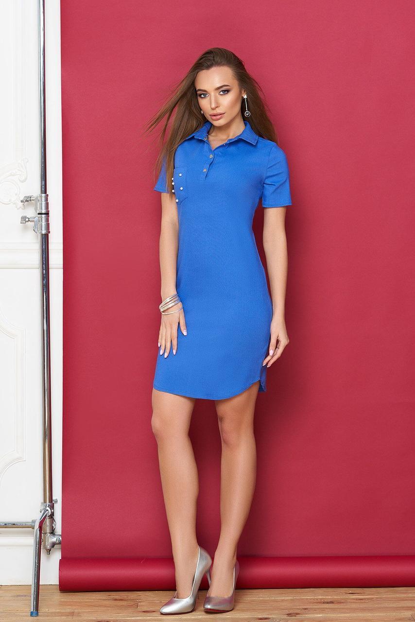 Голубое платье-поло с декором, S(44)