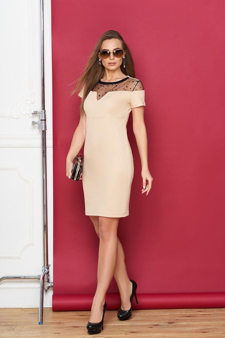 Коктейльное платье-футляр с сеткой бежевое, M(46)