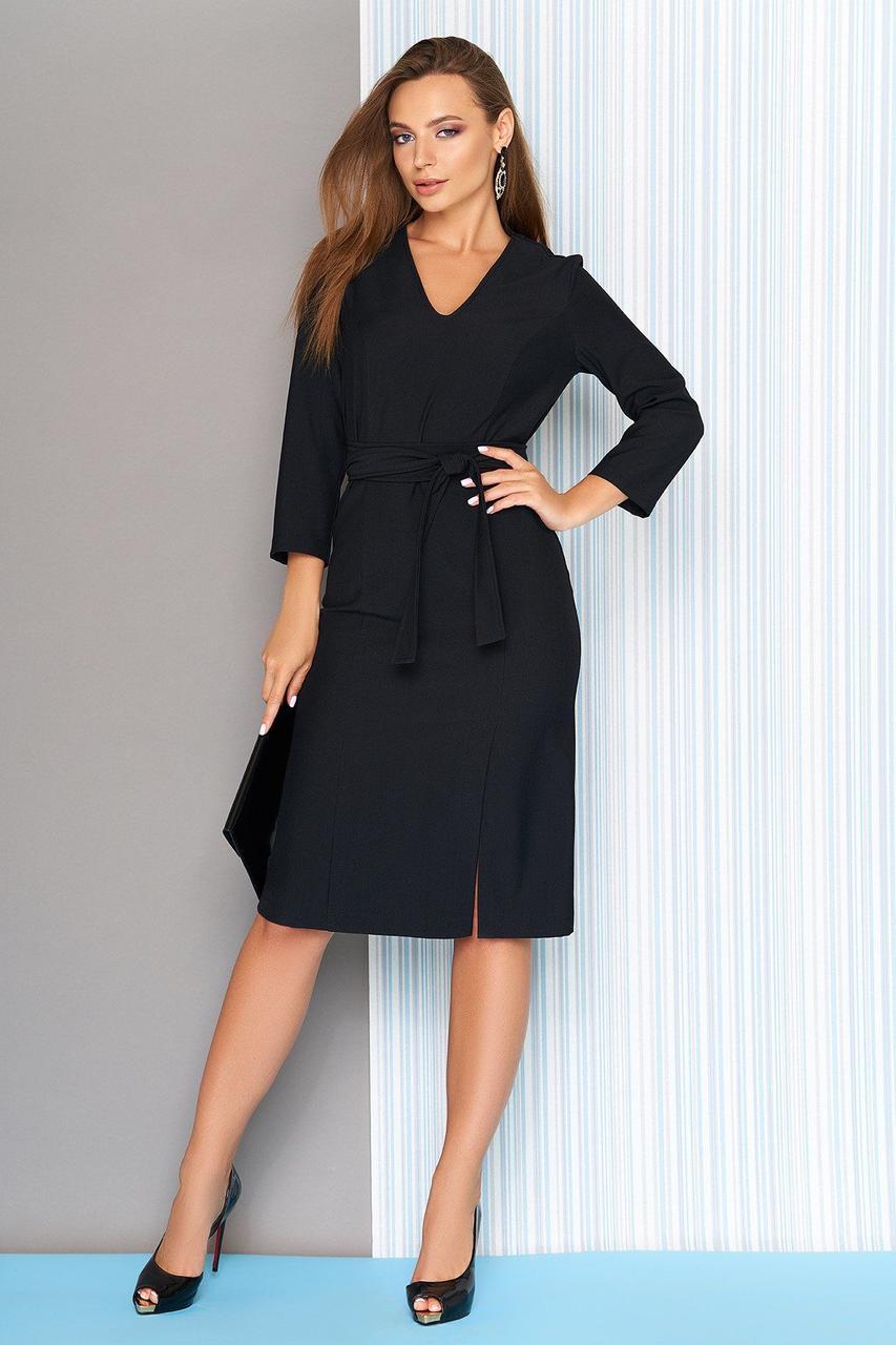 Деловое платье-миди приталенное с поясом черное, S(44)