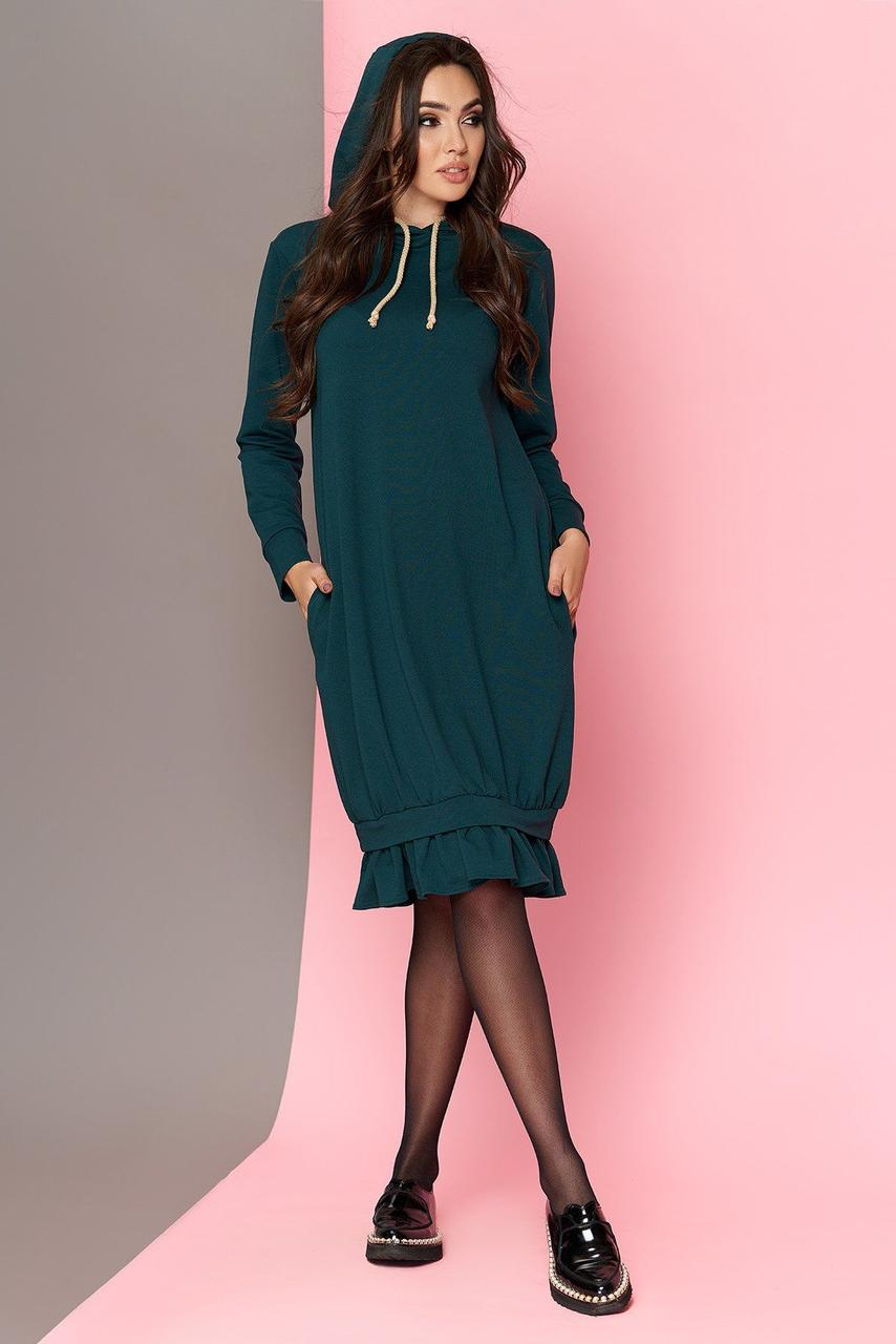 Трикотажное платье оверсайз с капюшоном зеленое, S(44)