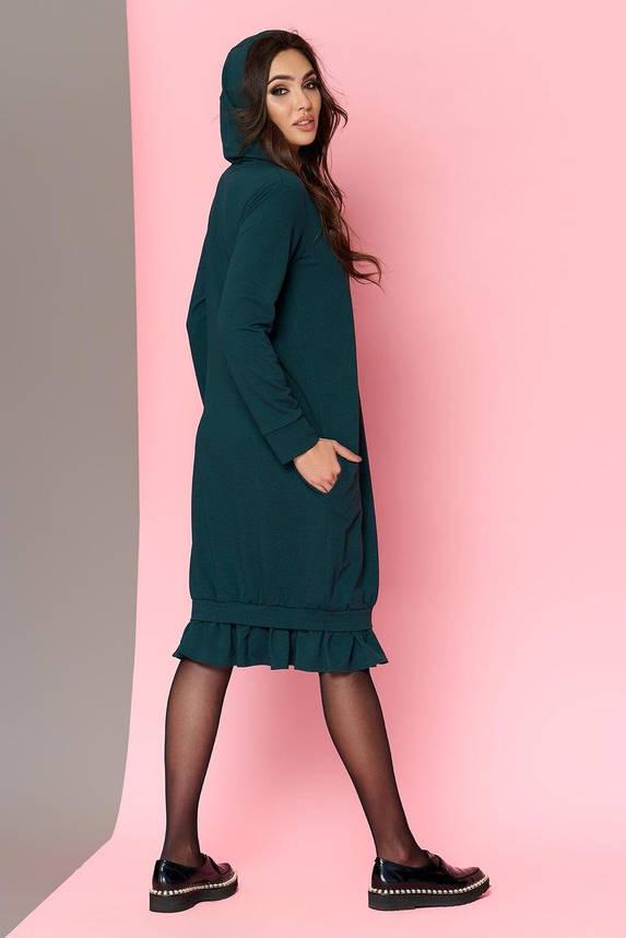 Трикотажное платье оверсайз с капюшоном зеленое, S(44), фото 2