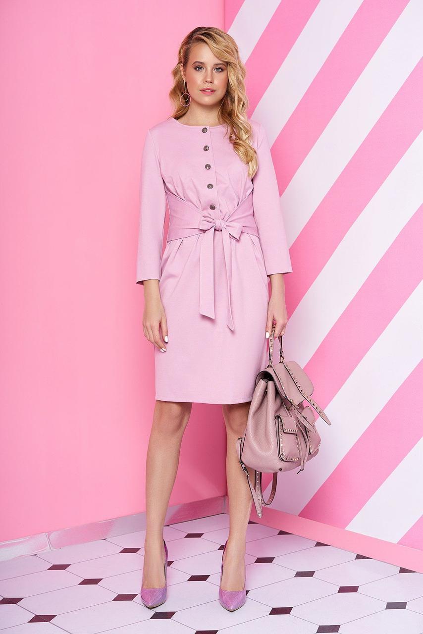 Трикотажное платье повседневное с поясом розовое, S(44)