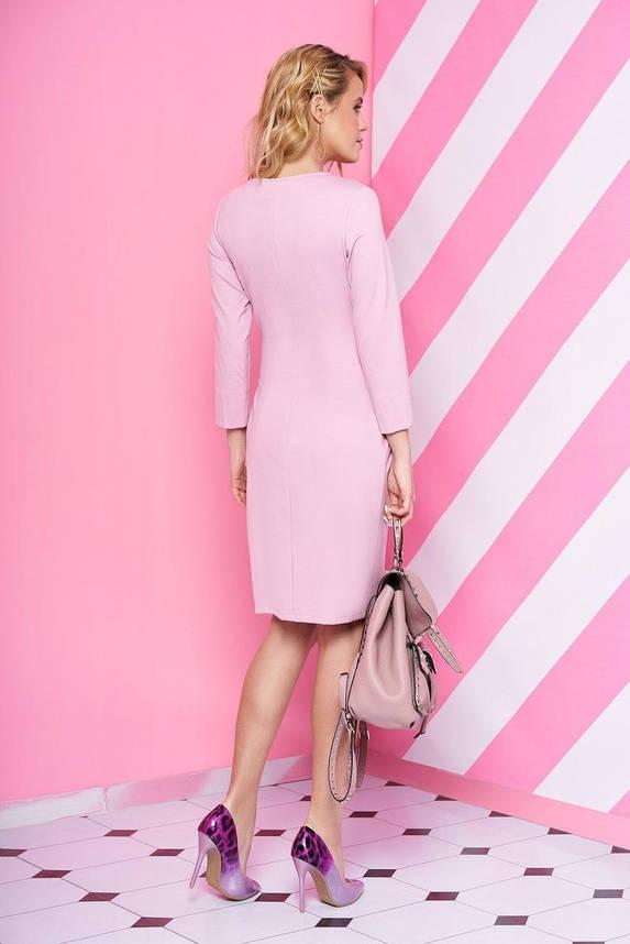 Трикотажное платье повседневное с поясом розовое, S(44), фото 2