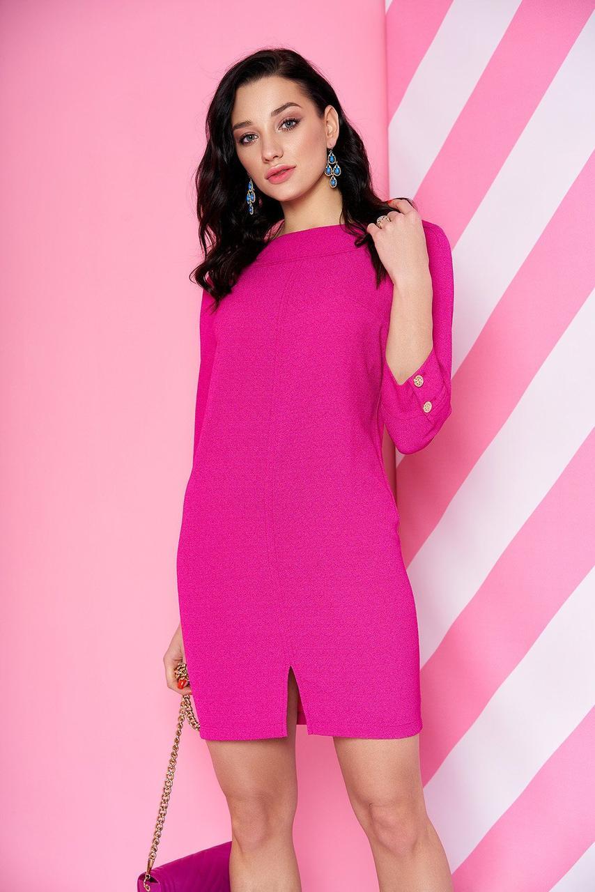 Стильное платье-мини в офисном стиле розовое, S(44)
