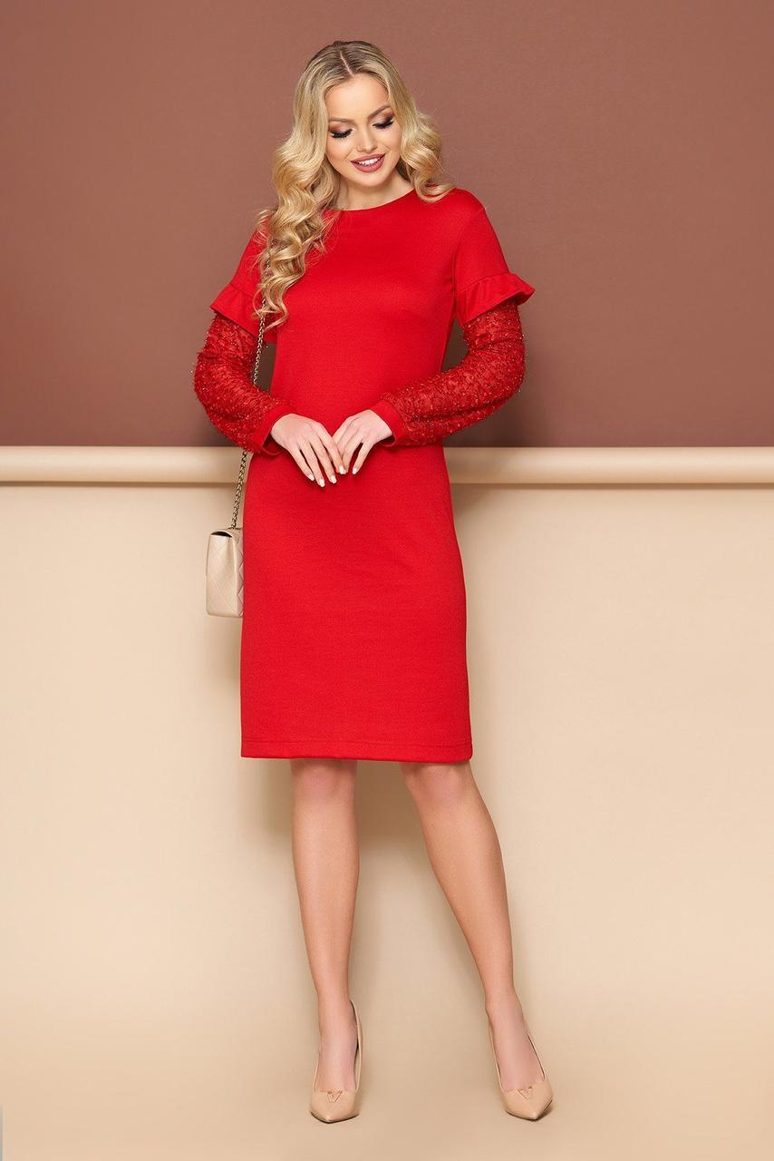 Нарядное красное платье трикотажное с рюшами, S(44)
