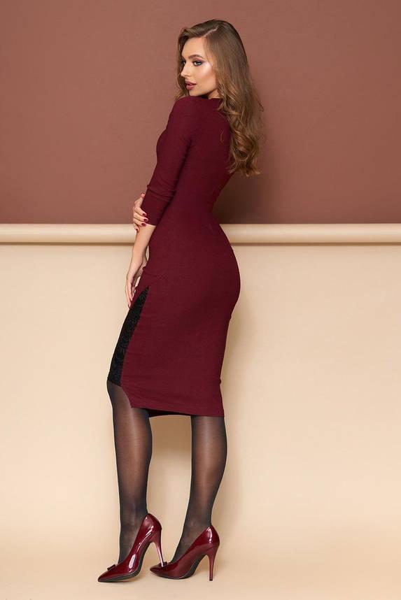 Бордовое нарядное платье облегающее с гипюром, S(44), фото 2