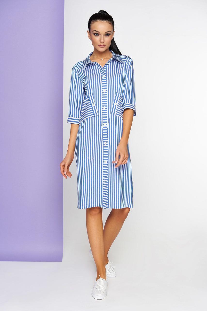 Летнее платье-рубашка в полоску голубое хлопковое, S(44)