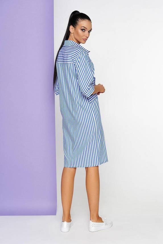 Летнее платье-рубашка в полоску голубое хлопковое, S(44), фото 2