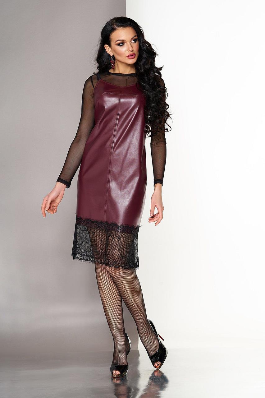 Платье двойка в бельевом стиле из кожи с кружевом бордовое, S(44)