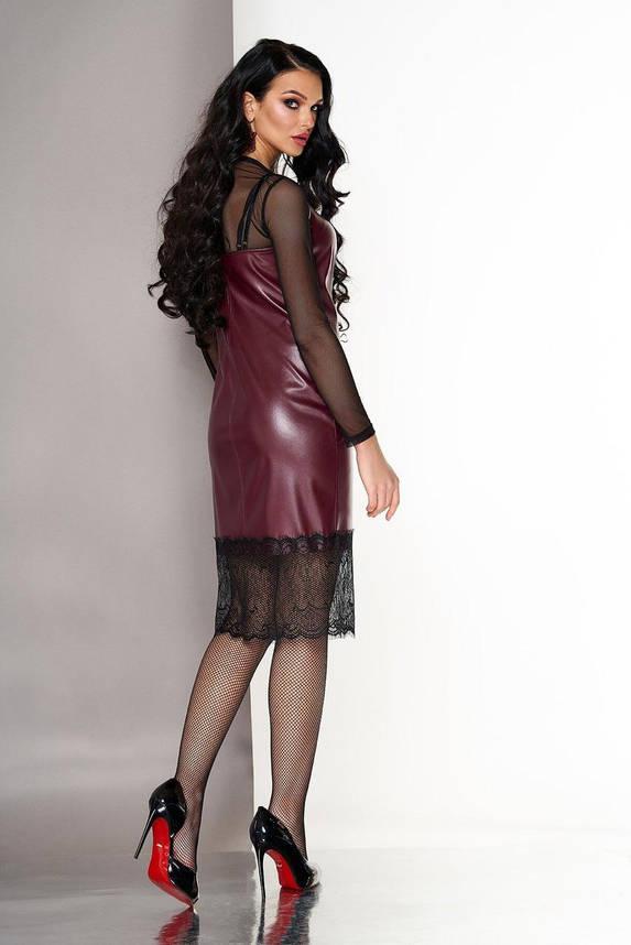 Платье двойка в бельевом стиле из кожи с кружевом бордовое, S(44), фото 2