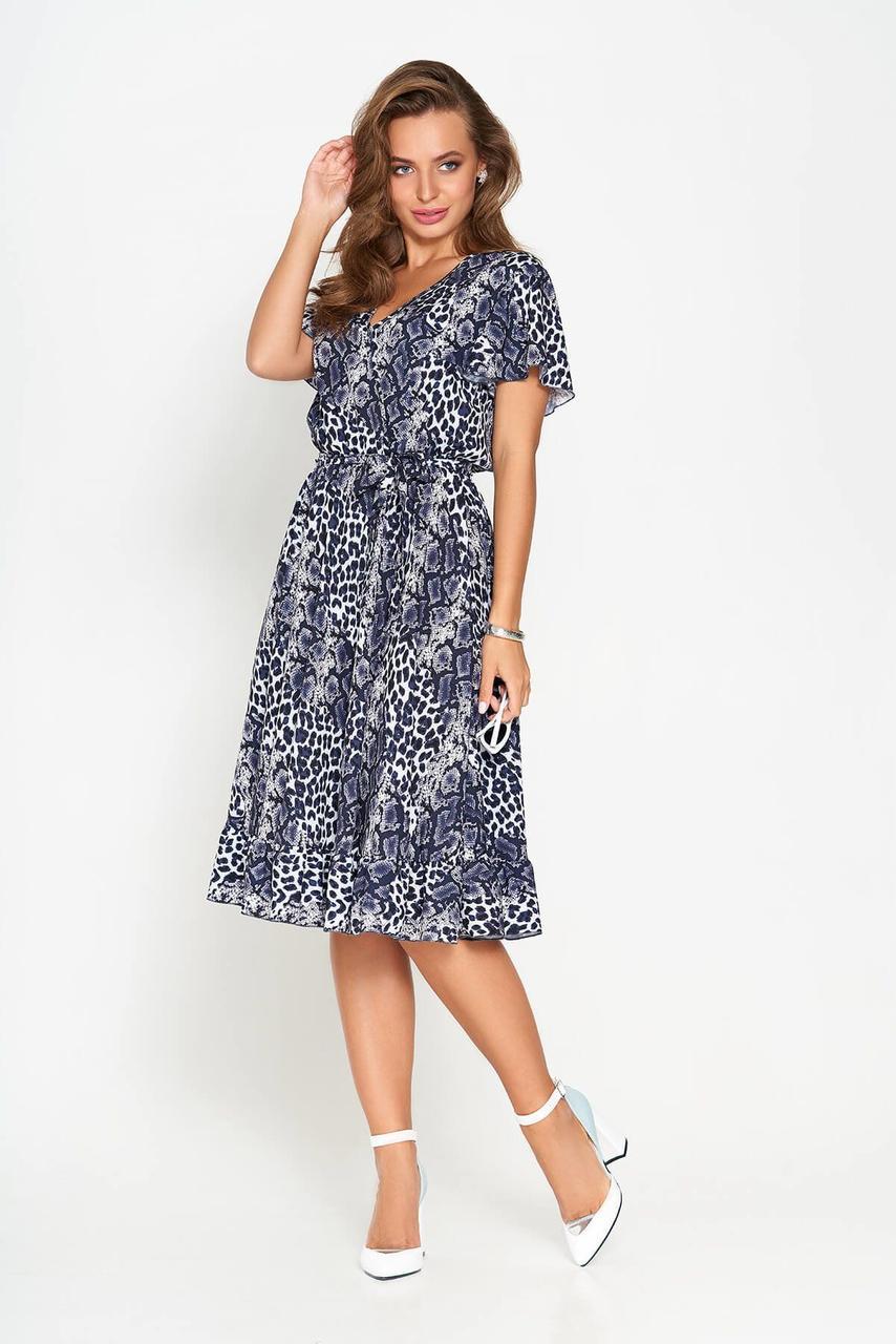 Летнее платье-миди со звериным принтом синее, S(44)