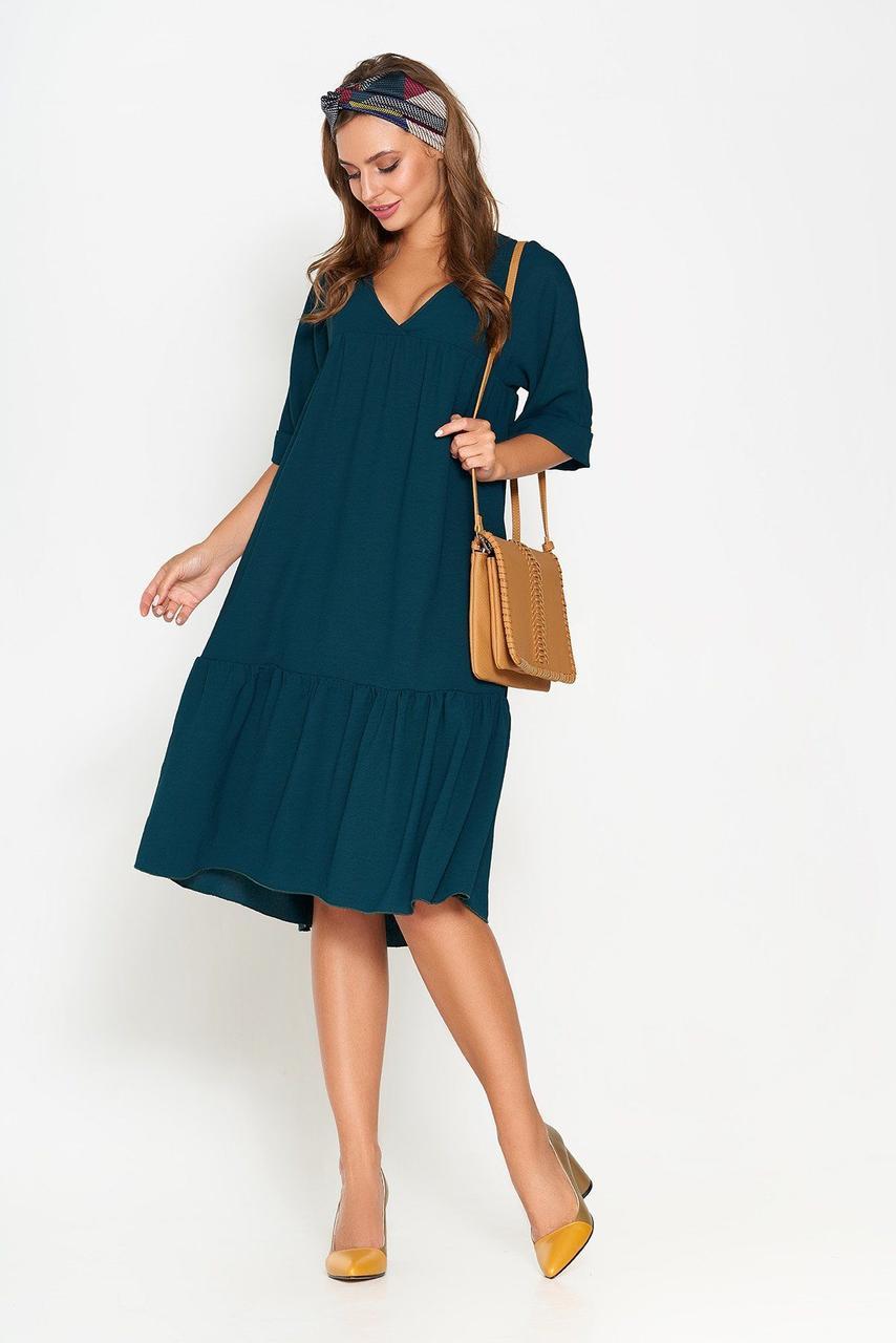 Оригинальное летнее платье-трапеция зеленое, S(44)