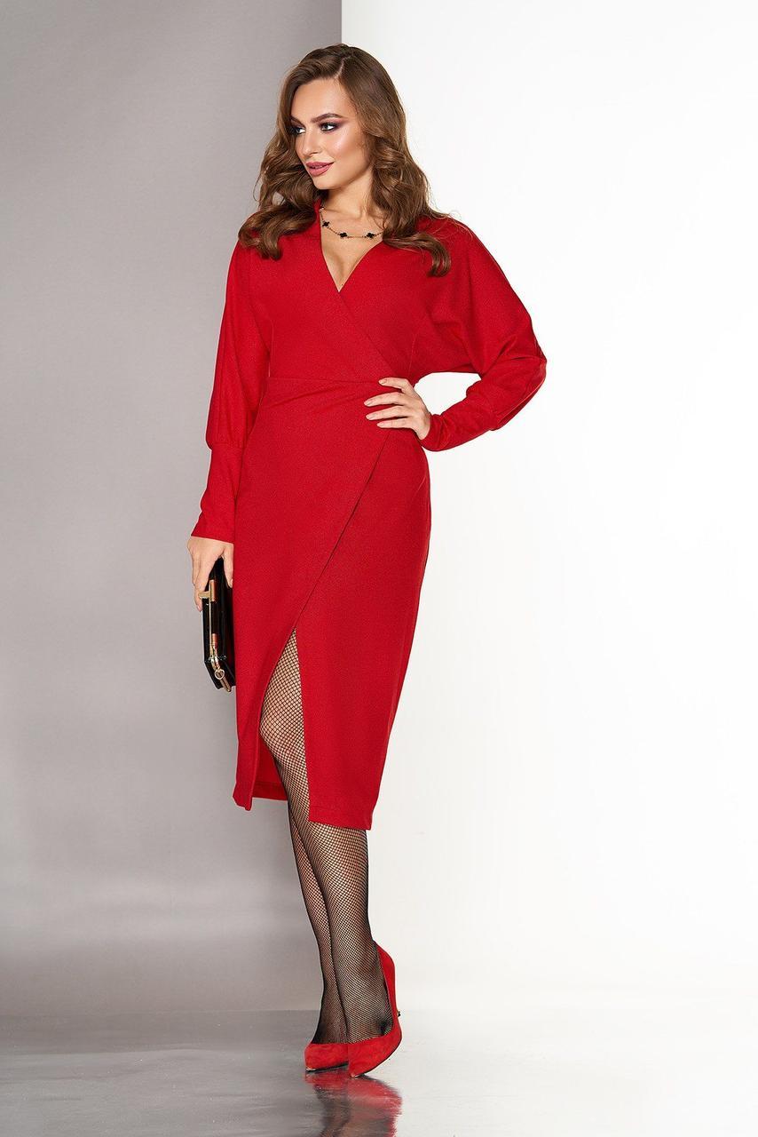 Красное вечернее платье-миди с запахом, S(44)