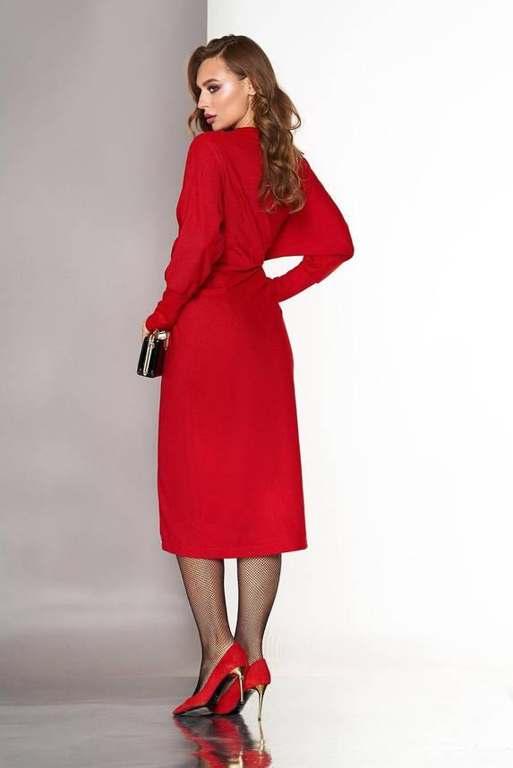 Красное вечернее платье-миди с запахом, S(44), фото 2