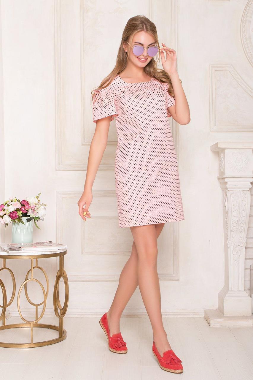Летнее хлопковое платье мини в горошек персиковое, S(44)