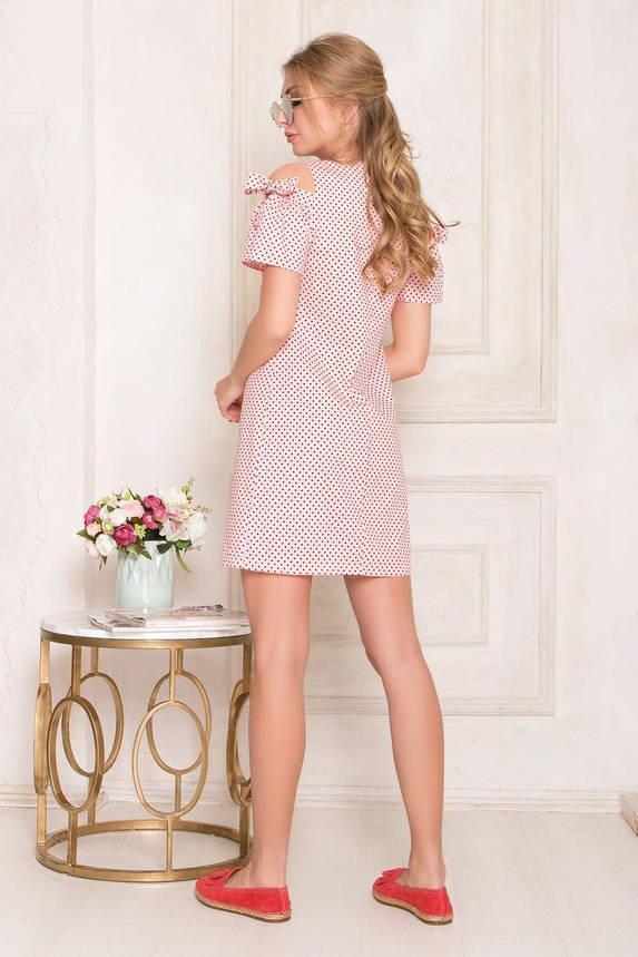 Летнее хлопковое платье мини в горошек персиковое, S(44), фото 2