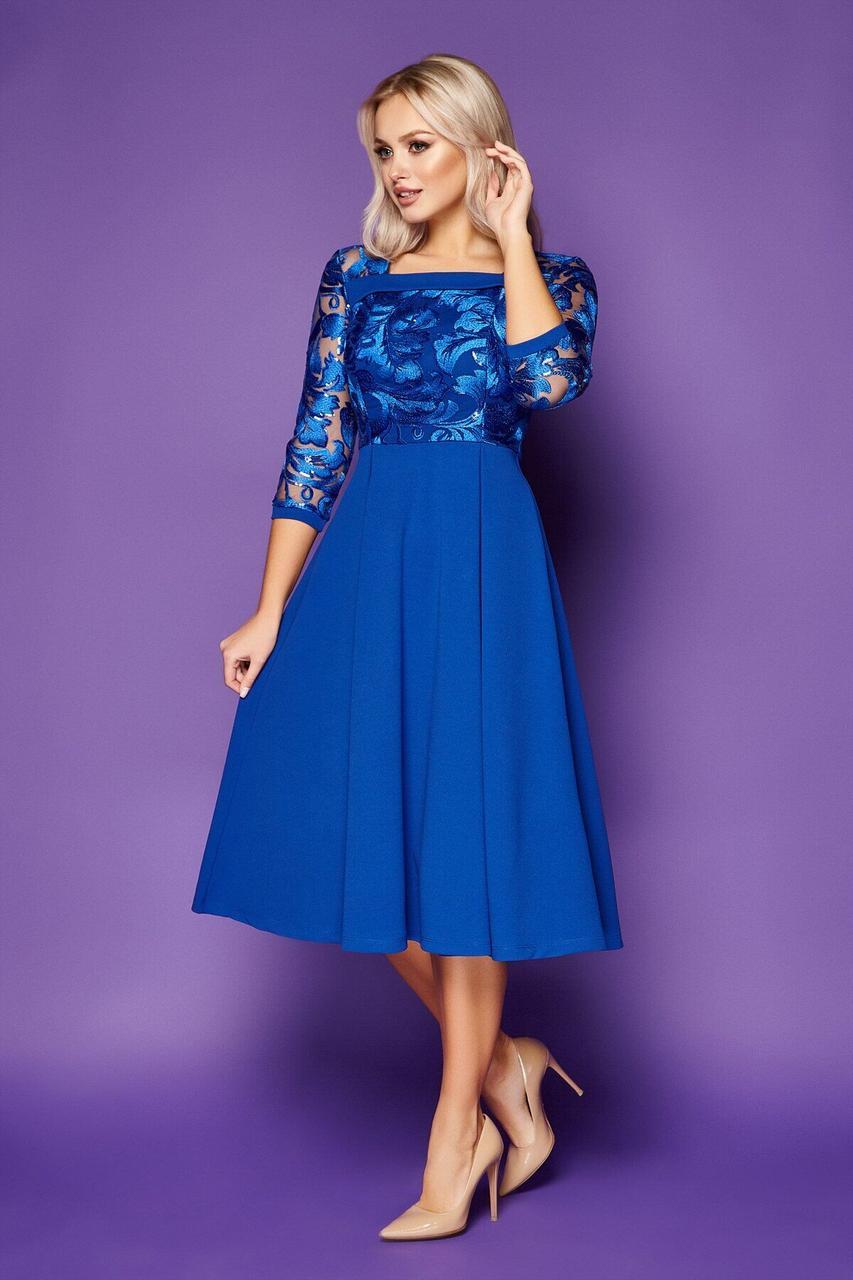 Нарядное платье-миди с вышивкой синее, S(44)