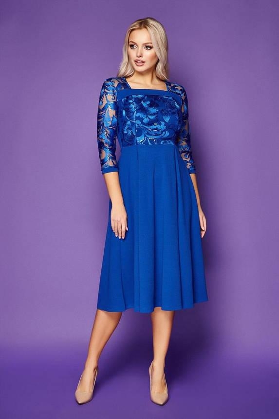 Нарядное платье-миди с вышивкой синее, S(44), фото 2