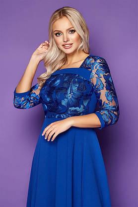 Нарядное платье-миди с вышивкой синее, S(44), фото 3
