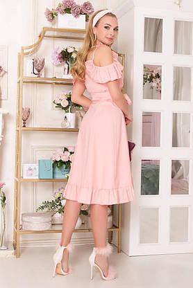 Летнее платье с открытыми плечами и рюшами персиковое, S(44), фото 3