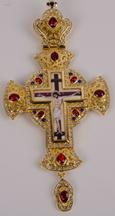 Хрест наперсный золоч. з черв. камінням 005