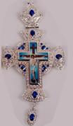 Хрест наперсный серебр. з синіми каменями 005