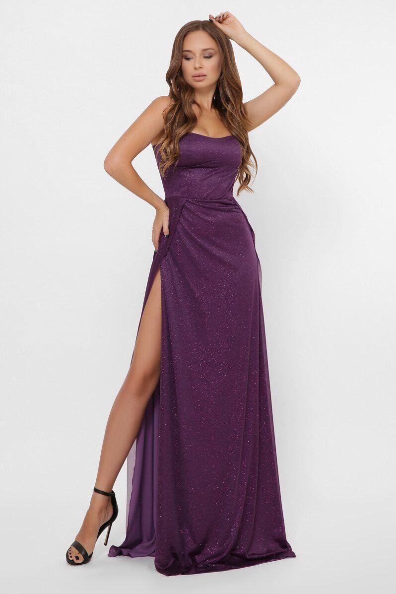 Вечернее платье в пол с разрезом KP-10310-19, L(48)