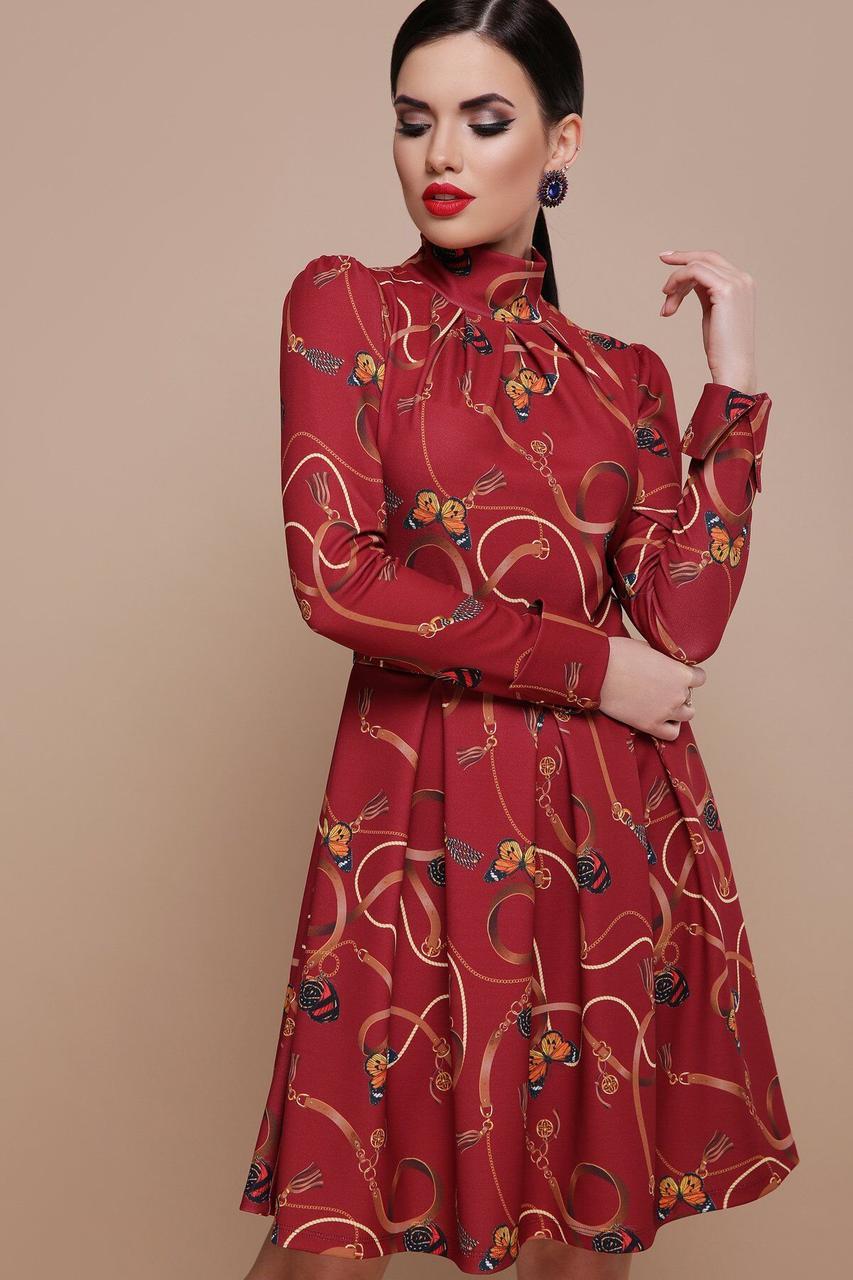 Бордовое приталенное платье с принтом, S(44)