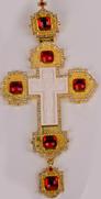 Хрест наперсный золоч. з черв. камінням 007