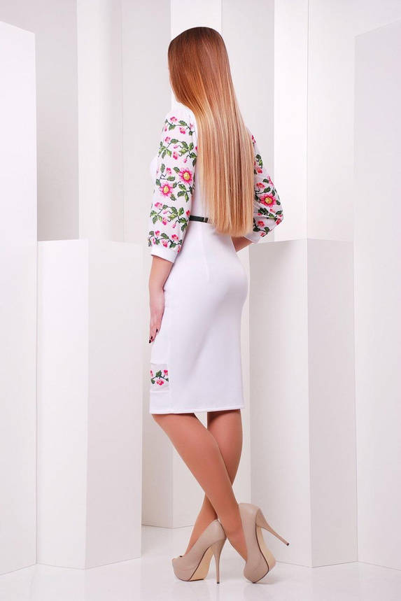 Красивое белое платье-футляр с цветочным принтом, M(46), фото 2
