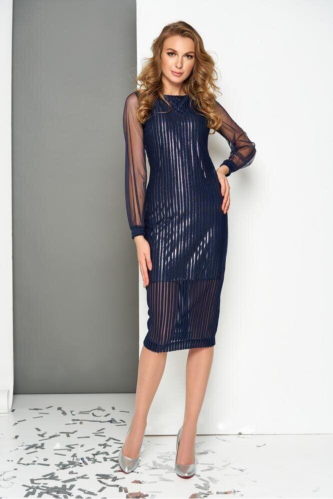 Нарядное облегающее платье двухслойное в полоску, XS(42)