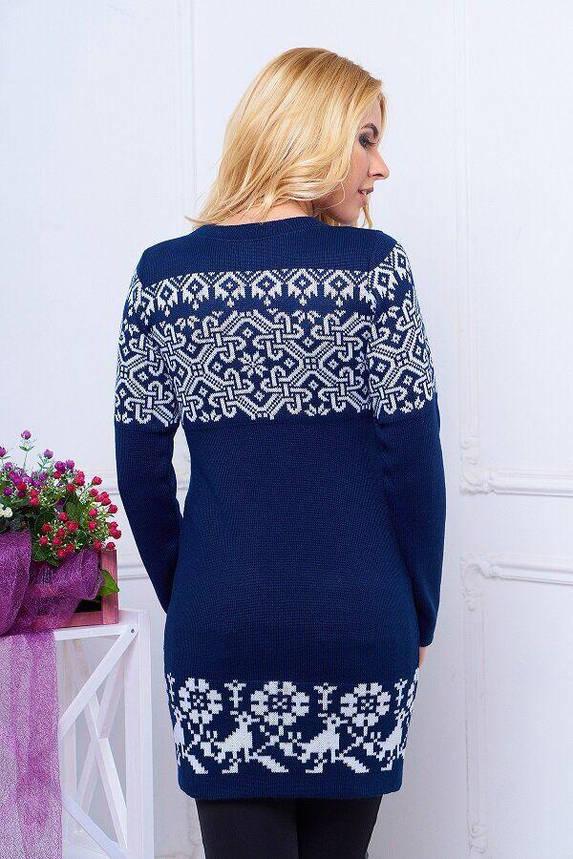 Зимнее вязаное платье-туника с красивым узором, S(44), фото 2