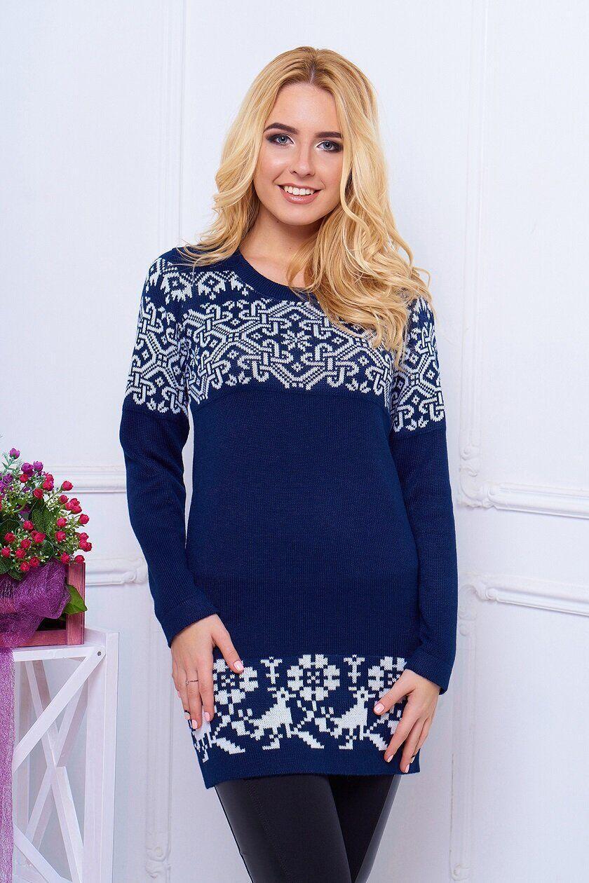 Зимнее вязаное платье-туника с красивым узором, S(44)