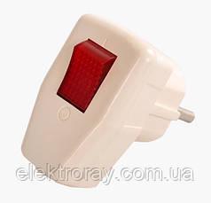 Виделка з заземленням з вимикачем Светоприбор біла
