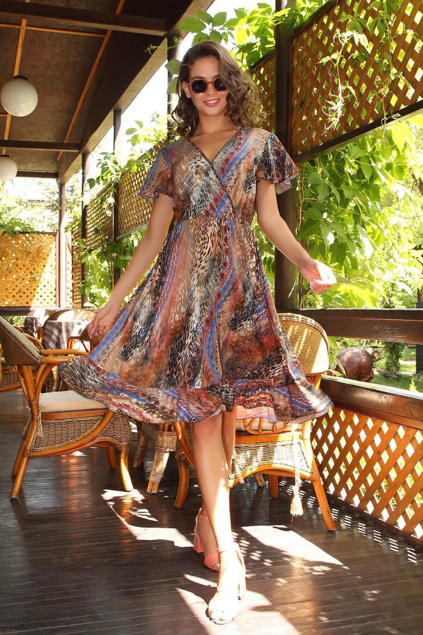 Легкое летнее платье-миди с принтом, S(44)