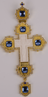 Хрест наперстный золоч. з синіми каменями 007