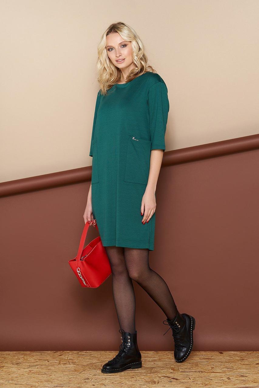Повседневное платье зеленое из трикотажа, S(44)