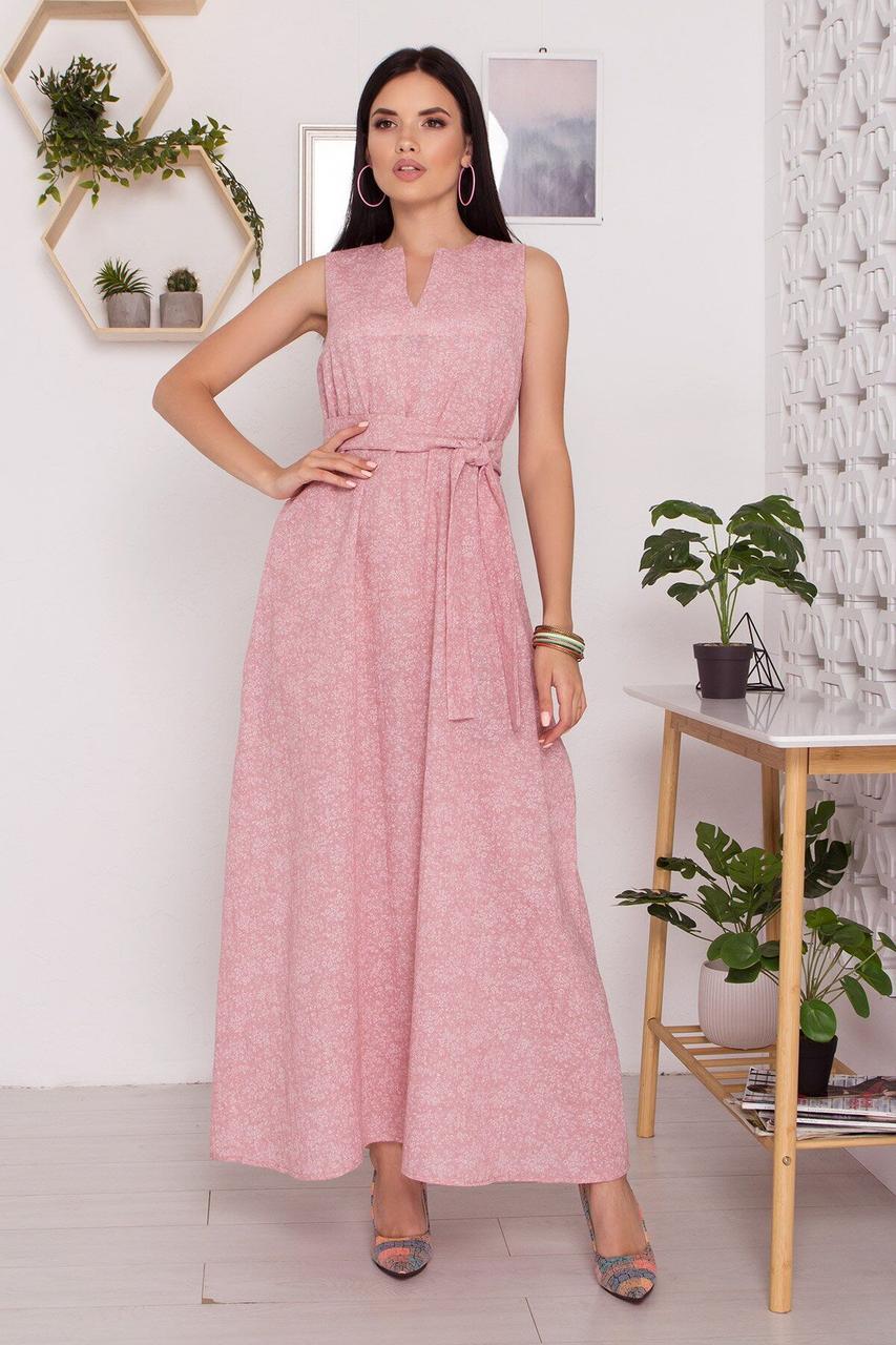 Летнее льняное платье в пол с открытыми плечами розовое, S(44)