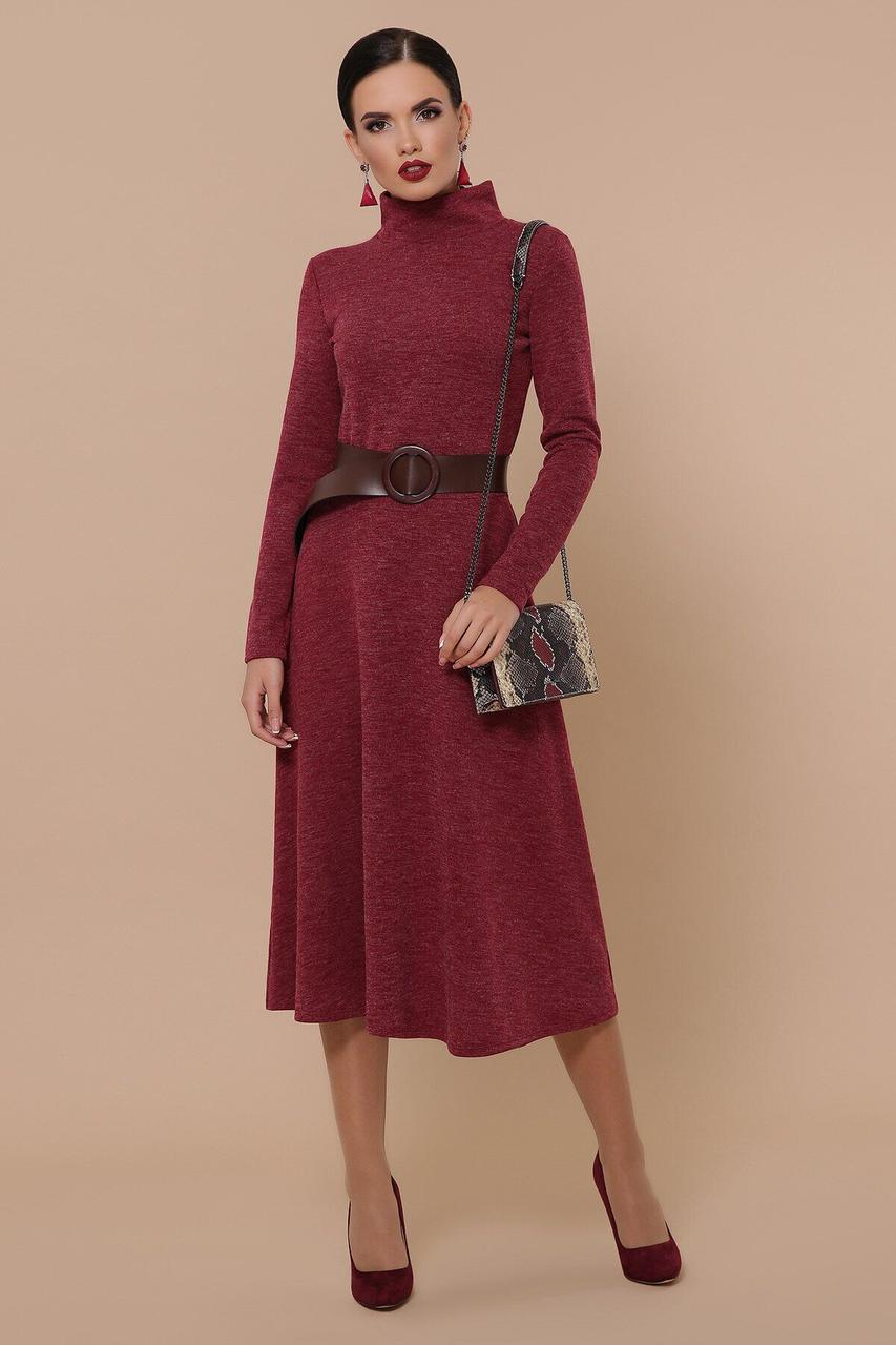 Теплое осеннее платье-гольф из ангоры бордовое, S(44)
