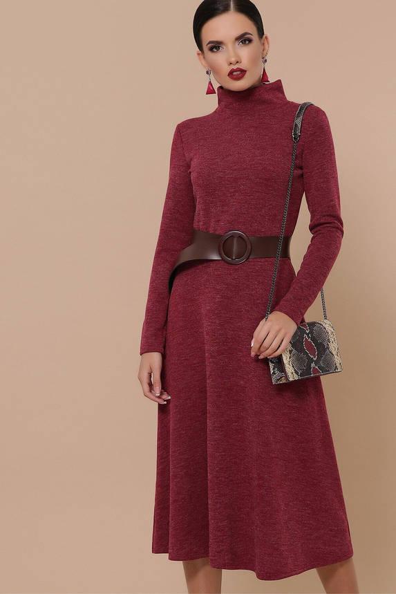Теплое осеннее платье-гольф из ангоры бордовое, S(44), фото 2