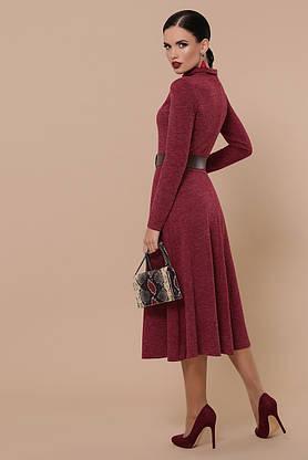 Теплое осеннее платье-гольф из ангоры бордовое, S(44), фото 3