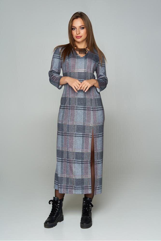 Длинное трикотажное платье в клетку с разрезом серое, S(44)