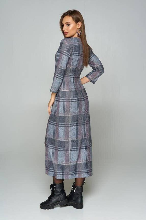 Длинное трикотажное платье в клетку с разрезом серое, S(44), фото 2