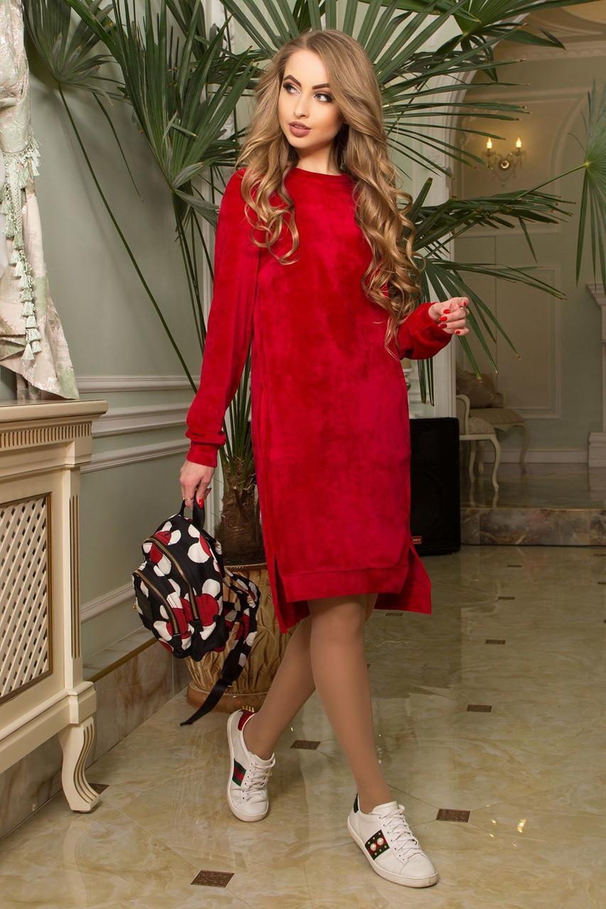 Красное бархатное платье с карманами повседневное, S(44)