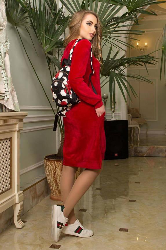 Красное бархатное платье с карманами повседневное, S(44), фото 2