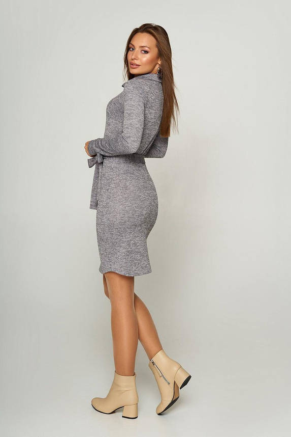 Серое платье-поло из ангоры с поясом, S(44), фото 2