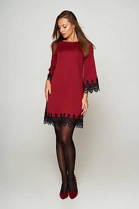 Нарядное платье-трапеция с кружевом бордо, S(44), фото 3