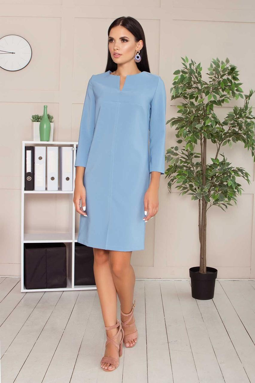 Платье в деловом стиле до колена голубое, S(44)