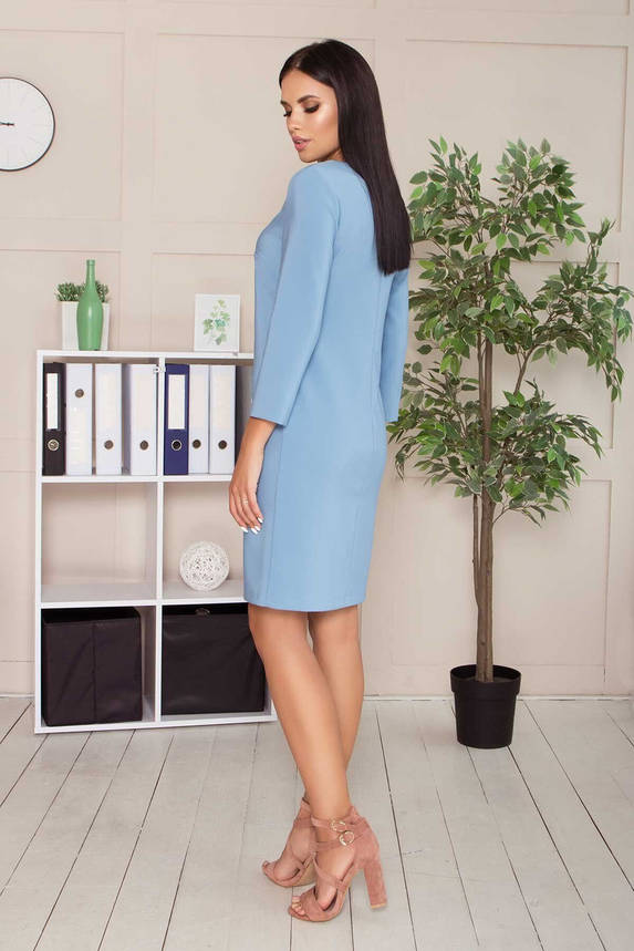 Платье в деловом стиле до колена голубое, S(44), фото 2