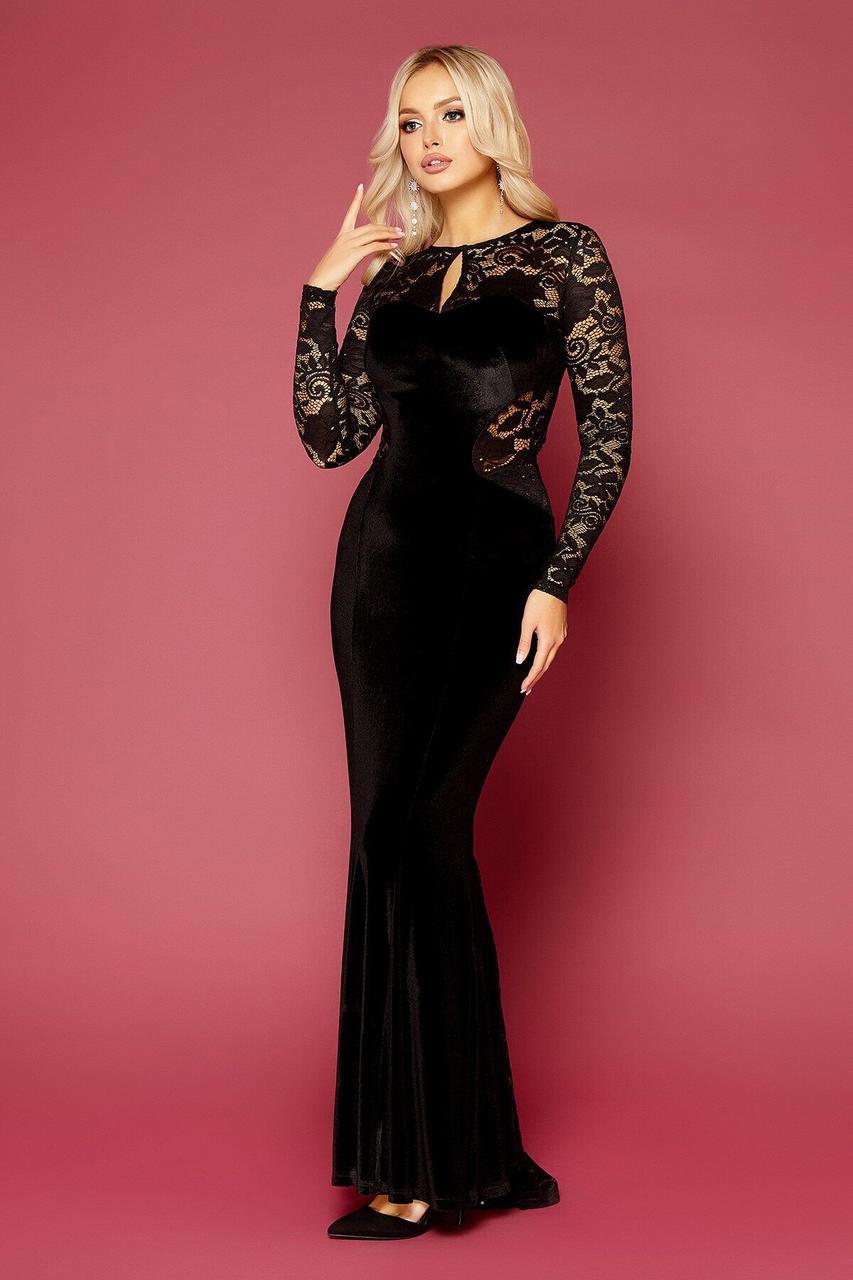 Велюровое вечернее платье в пол черное, M(46)